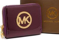 New Michael Kors Purse Square Purpple Patent Gold Hardware