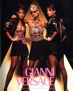 Iconic '90s designer Gianni Versace tapped iconic '90s supermodels Helena Christensen, Linda Evangelista, and Christy Turlington for his house's Spring '91 ad campaign, which, as you can see, was heavy on hardware and bold religious embellishments. (February) - ELLE.com
