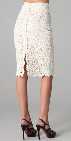 Bennet Lace Skirt by Elie Tahari / ShopBopBennet Lace Skirt, Bennet Lace Skirt I really like a phenomenal lace skirt What a cool solution to do a again slit I really like a phenomenal lace skirt What.inspiration only (can be done in Irish crochet)Che Dress Skirt, Lace Dress, Dress Up, Lace Skirt Outfits, Slit Skirt, Lingerie Look, Kleidung Design, Mode Crochet, Diy Crochet