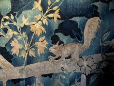 Squirrel - detail from a tapestry at the Château de Langeais, France.