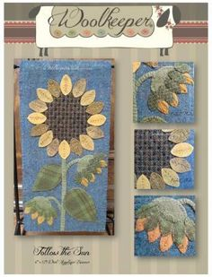 Pattern: Wool Applique - Follow The Sun Banner Size: 6 x 12 Designer: The Woolkeeper Free Shipping USA