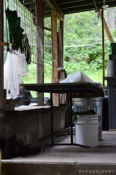 Outdoor hand paper making studio at Women's Studio Workshop