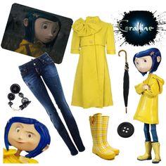 Coraline Style, created by llucherrybomb Fashion Bella, Girl Fashion, Fashion Outfits, Coraline Costume, Blue Wig, Fandom Fashion, Halloween Outfits, Halloween Ideas, Geek Girls