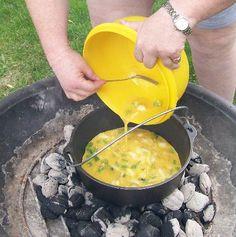 Dutch Oven Scrambled Eggs and Biscuits Recipe, Scrambled Eggs Recipe, Biscuit Recipe, Camp Fire Cooking Recipes, Dutch Oven Recipes, Cast Iron Pan Recipes