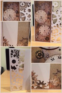 Clocks and cogs card for step dad's birthday