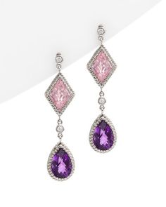 18K Pink Quartz & Purple Amethyst & Diamond dangle earrings, by Such a Gem