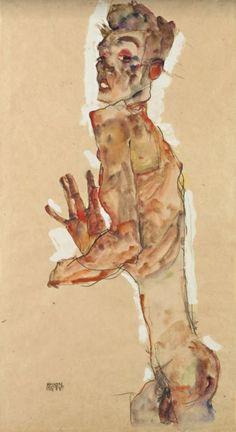 Self Portrait with Splayed Fingers / Egon Schiele, 1911