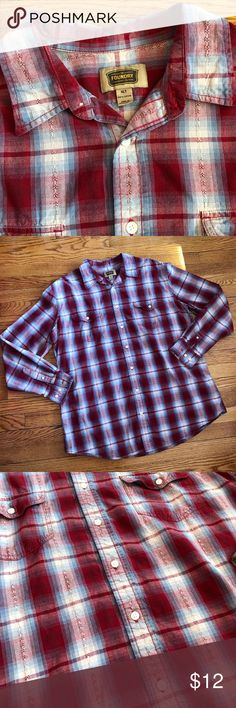 "Men's XLT The Foundry Plaid Button Up Shirt Tall Men's The Foundry Supply Co  Plaid Button Up Shirt Red, Blue, & Cream  White Iridescent Buttons Size is Extra Large Tall Chest 25"" Length 30"" Arm 26"" Good condition Foundry Supply Co Shirts Casual Button Down Shirts"