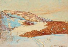 Gustaf Fjaestad, Ski tracks on the mountain, 1925