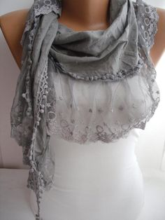 Gray Shawl Scarf Cotton Shawl Scarf  Cowl headband with by DIDUCI, $21.00