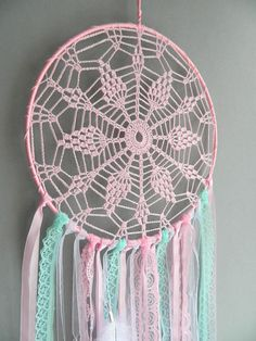 This pink and mint lace nursery dream catcher is a beautiful boho home decor for girls room. It could be a perfect baby shower gift, housewarming gift, birthday gift, Mother`s day gift and even an anniversary gift or Christmas gift too. Dream catchers are not just beautiful