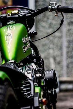 Harley Green I like the Harley Davidson Bike. Harley Bobber, Harley Bikes, Bobber Chopper, Custom Harleys, Custom Motorcycles, Custom Bikes, Custom Bobber, Motos Harley Davidson, E Motor