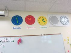 """Classroom Tour 2012...foam clocks to show important times of the day...stops all the """"when is..."""" questions"""
