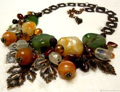 """Купить Колье """"Осень близко1"""" - Бижутерия, дизайн, желтый, зеленый, Сердолик, агат, авторские украшения"""