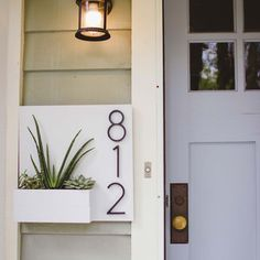 Front Door Numbers, Wood Front Doors, House Numbers, Front Door Accessories, Home Accessories, Exterior Wood Paint, Plywood House, Front Door Planters, House Front Porch