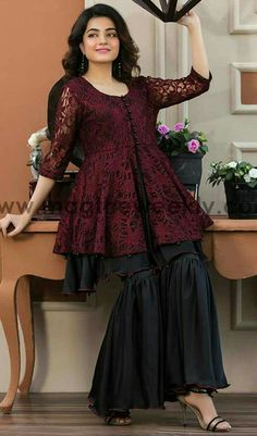 Pakistani Boutique Style Maroon Peplum with Black ghrara Pakistani Dresses Casual, Pakistani Dress Design, Indian Dresses, Pakistani Bridal, Indian Outfits, Stylish Dresses For Girls, Casual Summer Dresses, Girls Dresses, Eid Dresses