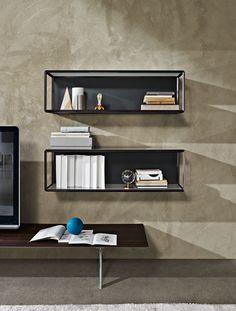 Wall-mounted crystal bookcase GRADO° by MOLTENI