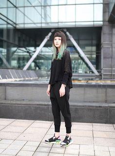 Miriam Mibao - Y 3 Sneakers, Miyuti Pants - Black sport | LOOKBOOK