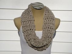 Chunky Beige Sequin Cowl Scarf by theglitteryknittery on Etsy, $50.00