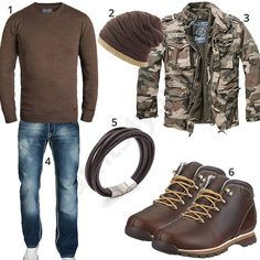 Herren-Style mit braunem Pullover, Boots und Mütze (m0676)