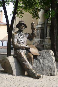 Shkribliaks Monument. Near Rynok Square Lviv, Ukraine