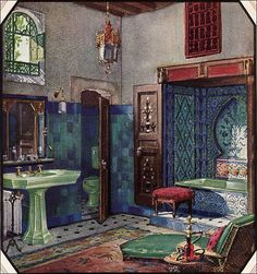 https://flic.kr/p/5vmYxQ | 1928 Bathroom by Crane | Published in American Home in 1928, this bathroom was one of the more exotic designs featuring higher end fixtures and tile.