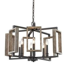Home Decorators Collection 6-Light Aged Bronze Pendant with Wood Accents HD-1253-I at The Home Depot - Mobile