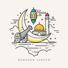 Vector Illustration For The Celebration Of Holy Month Ramadan With Line Art Design Vector and PNG Ramadan Cards, Ramadan Images, Ramadan Greetings, Ramadan Mubarak, Ramadan Sweets, Ramadan Photos, Line Art Design, Ramadan Celebration, Ramadan Poster