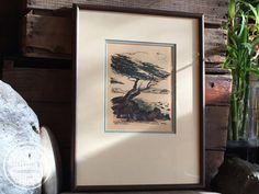 "Vintage Framed 1970's Art Print ""Carmel Beach"" Artist Poem Steevens"