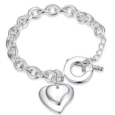 High Quality Double Heart Shape Pendant   Silver Link Chain  8inch  TO Bracelet women girls daily Jewelry ornamentation