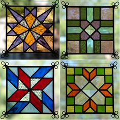 NEW Set of 4 Stained Glass Quilt Pattern Suncatcher 403