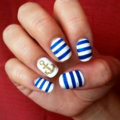 Nautical nail design for short nails to do at home