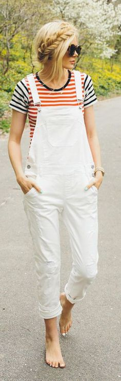 White Overalls Outfit Idea by Barefoot Blonde Cool Outfits, Casual Outfits, Fashion Outfits, Womens Fashion, White Overalls, Salopette Jeans, Barefoot Blonde, Street Style, Lookbook
