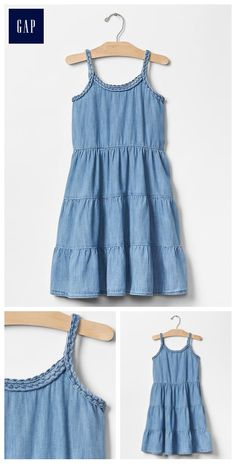 1969 braided denim tier dress