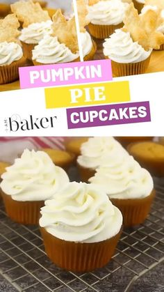 Pumpkin Pie Cupcakes with Pie Crust Cut-Outs Check this easy video about pumpkin pie cupcakes with an easy handheld treat for everyone to love. The classic flavor pumpkin pie cupcakes are made perfect with just a little twist of pie crust cut-outs on top! Köstliche Desserts, Delicious Desserts, Pumpkin Recipes, Fall Recipes, Mini Cakes, Cupcake Cakes, Poke Cakes, Layer Cakes, Pumpkin Pie Cupcakes