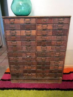 vintage antique distressed steampunk old wood file storage cabinet medical hardware optical apothecary library drawers catalog on Etsy, $2,400.00