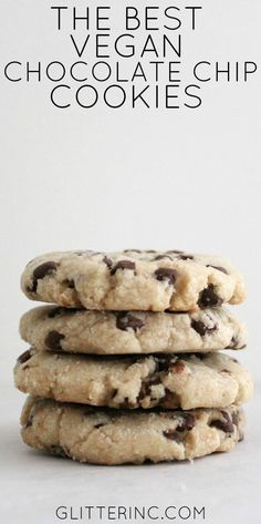 These vegan chocolate chip cookies don't use any eggs, milk, or butter, and still miraculously taste just like classic homemade chocolate chip cookies! | vegan desserts | vegan cookie recipe | vegan chocolate chip cookies | homemade vegan recipes | vegan dessert recipes | how to make vegan cookies || Glitter, Inc.