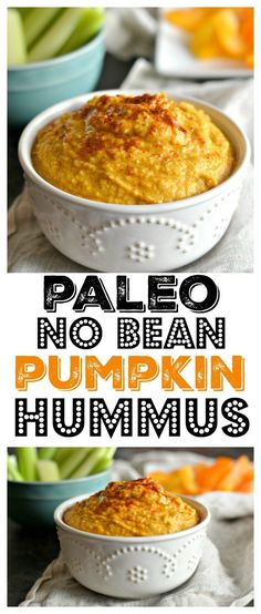Paleo No Bean Pumpkin Hummus made with zucchini and pumpkin instead of traditional chickpeas. This versatile and low calorie dish makes a delicious dip, dressing, sauce or marinade! Gluten Free + Vegan + Paleo + Low Calorie