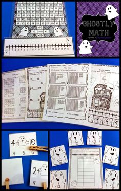 Ghostly Math: pack of Print N Go worksheets and math center activities that are…