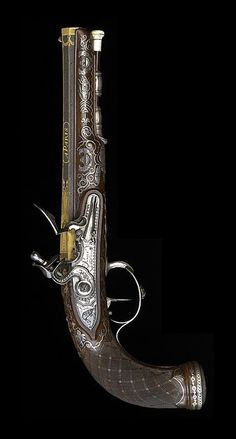 French Late 18th Century Pistol - by Peniet, Paris. The highest quality, silver and gold inlaid, made in the style of Boutet, Versailles (original flintlock officers/dueling pistol).