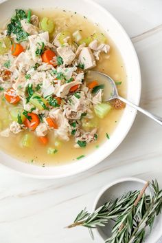 Use up that leftover poultry when the holiday ends with this leftover turkey and rice soup! A savory soup that's overflowing with healthy veggies, aromatic herbs, and perfectly cooked rice. A great way to avoid wasting food! #turkeyandricesoup #soup