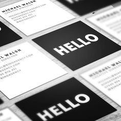 Customised Square Business Cards Minimalist Black and White