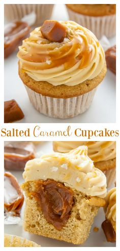 If you love caramel you have to try these Salted Caramel Cupcakes! Moist fluffy and exploding with caramel in every bite! If you love caramel you have to try these Salted Caramel Cupcakes! Moist fluffy and exploding with caramel in every bite! Easy Desserts, Delicious Desserts, Yummy Food, Delicious Cupcakes, Salted Caramel Frosting, Chocolate Caramel Cupcakes, Chocolate Tarts, Mint Chocolate, Chocolate Chips