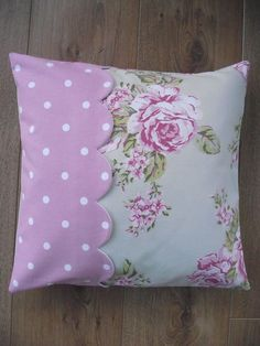 Sewing Cushions Handmade Cushion Cover in Flora Dotty Rose and by BreifneCottage, - Shabby Chic Pillows, Cute Pillows, Diy Pillows, Decorative Pillows, Throw Pillows, Handmade Cushion Covers, Handmade Cushions, Patchwork Cushion, Quilted Pillow