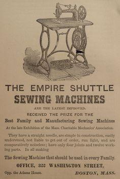 Empire Shuttle Sewing Machine Boston MA Victorian Antique 1870 ORIGINAL PRINT AD Vintage Cards, Vintage Paper, Vintage Sewing, Print Advertising, Print Ads, Boom Town, Bride Book, Deco, Deko