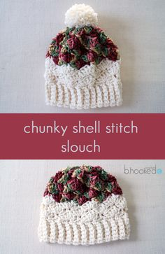 Chunky Shell Stitch Slouchy. Works up in just a few hours! Free pattern and video tutorial.