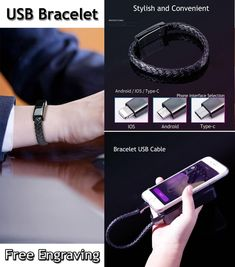 USB Cable Charger Cable Compatible with Iphone Android Type-C USB Bracelet Leather Tumblr Funny, Bracelets For Men, Leather Men, Charger, Cable, Android, Usb, Lamborghini Huracan, Mens Fashion