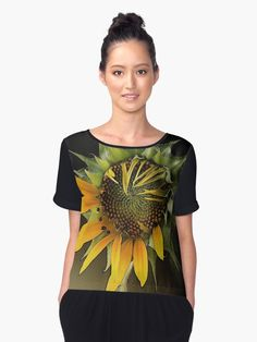 « GIRASOL, from Léa Roche paintings - Tournesol - fleur jaune, flower Chemise Fashion, Shirt Style, Paintings, Flower, People, T Shirt, Tops, Women, Yellow Flowers