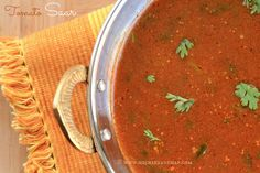 Ruchik Randhap (Delicious Cooking): Tomato Saar (with Cumin & Pepper) ~ Spicy & Watery Tomato Soup Brothy Soup Recipes, Tomato Soup Recipes, Veg Recipes, Vegetarian Recipes, Vegan Vegetarian, Coriander Soup, Curry Leaves, Indian Tomato Soup
