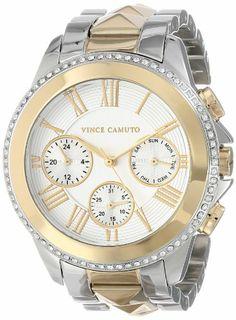 Vince Camuto Women's VC/5157SVTT Swarovski Crystal Accented Two-Tone Pyramid Bracelet Watch | WatchCorridor
